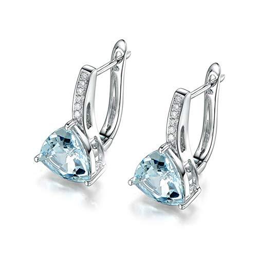 Daesar Pendientes Oro Blanco 18K Mujer Pendientes Triángulo Aguamarina Azul Claro 1.76ct Diamante Blanco 0.06ct