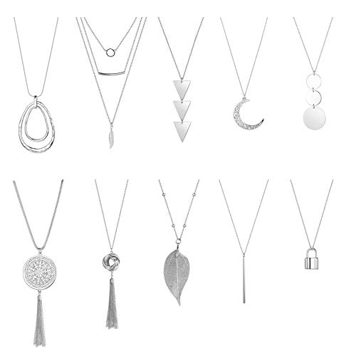 CASSIECA 10PCS Long Pendant Necklaces for Women Girls Disk Circle Tassel Knot Triangle Leaf Bar Necklace Strands Y Simple Necklaces Sweater Chain Statement Necklace Set Silver/Gold
