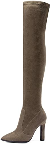 ZHRUI botas de Invierno para mujer botas Altas Sobre la Rodilla Resbalón en tacón Alto Delgado Punta Estrecha Todos los zapatos a Juego para Damas de Moda (Color   Caqui, tamaño   2.5 UK)