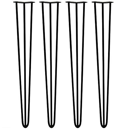 4x Haarnadel Tischbeine Tischkufen Tischgestell mit Dreifachstab inklusive Freie Bodenschoner für Kaffeetisch, Tisch und Schreibtisch, Schwarz (71cm)