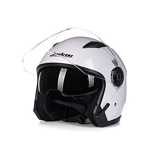 Mrjg Helm Motorrad Lepine capacete para motocicleta cascos para Moto-Rennen Motorrad Vintage-Helme mit Doppelobjektiv (Color : White, Size : M)
