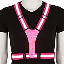 SULWZM LED Reflective Running Vest with High Visibility Night Lights, Adjustable Elastic Safety Gear for Walking, Cycling, Biking?Rose Red?