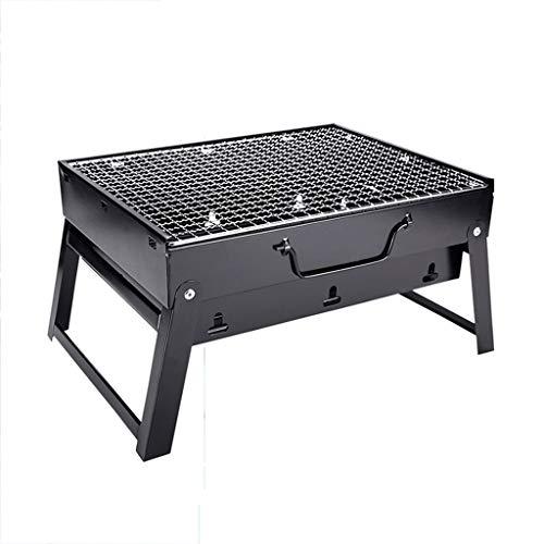 Holzkohlegrills Grill Outdoor Innen-und Außen Tragbare Klappgrill Grillen Camping Spieß Koreanischen Familie Stahlplatte Grill Grillkamine (Color : Black, Size : 43 * 29 * 23cm)