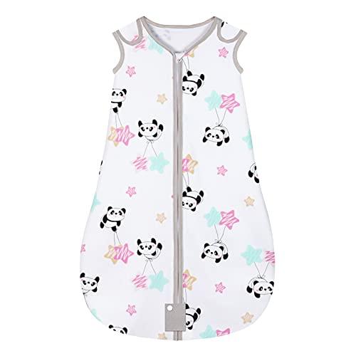 Yoofoss Saco de dormir para bebés Niños de 0-6 Meses años de 70 a 90 cm y 4 Estaciones 100% al algodón orgánico Unisex (S, Panda)