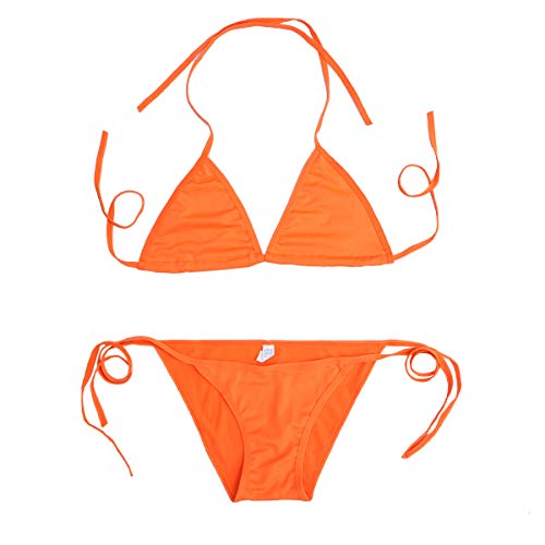 Frauen Spleißen Bademode Candy Farbe Hot Bandage Bikini Sommer Strand Badeanzug - Größe S (Orange)