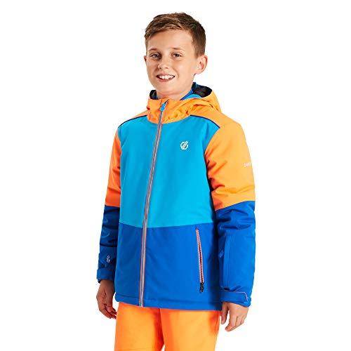 Dare 2b Unisex Kinder Aviate Waterproof Breathable High Loft Insulated Reflective Ski Snowboard Jacket with Snowskirt and Elasticated Hood Jacke, Oxford Blue/Atlantic Blue, 33 cm