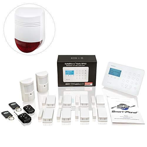 Safe2Home® draadloos alarmsysteem, complete set SP110, Sabota-bescherming, Duits menu, gsm, alarmsysteem, SMS-alarmering, alarminstallatie voor thuis, kantoor, incl. bewegingsmelder, buitensirene