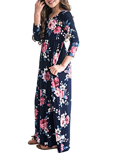 MITILLY Girls Flower 3/4 Sleeve Pleated Casual Swing Long Maxi Dress with Pockets 12 Years Dark Blue