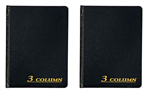 Adams Account Book, 7 x 9.25 Inches, Black, 3-Columns, 80 Pages (ARB8003M) - 2 Pack