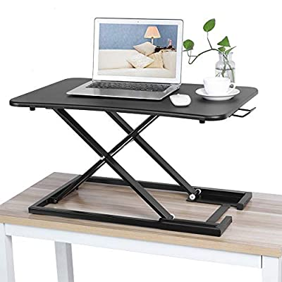 Greensen Height Adjustable Standing Desk Table, Ergonomic Computer Stand Up Desk Converter Tabletop Workstation Riser for Home Office Desk Standing Riser, X-Shape, Black