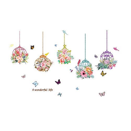 N-brand PULABO Tapete, Birdcage Schmetterling Blumen Hintergrund Wohnzimmer Wandaufkleber Aufkleber Wohnkultur Schöne Kunst Wandtattoos Hohe Qualität robust