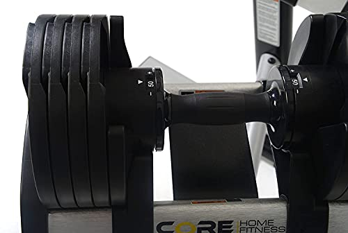 Core Fitness Adjustable Dumbbell Weight Set by Affordable Dumbbells - Adjustable Weights - Space Saver - Dumbbells for Your Home