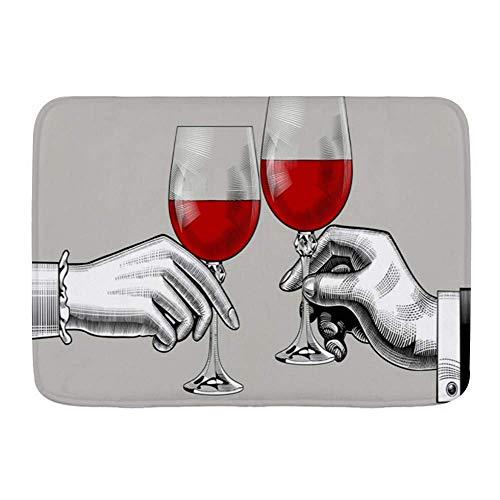 kThrones Weiche Badematte,Glashände Mann Frau Schwarzes Klirren Brille Rotes Essen Trinken Wein Vintage Toast Holding...
