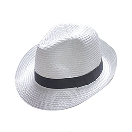 Boolavard Damen Breiter Krempe Stroh Panama Hut Fedora Beach Sun Hut UPF50 + (Weiß)