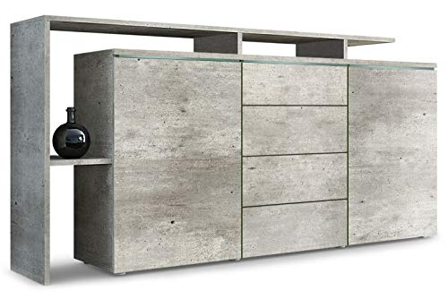Vladon Sideboard Kommode Lissabon in Beton-Optik