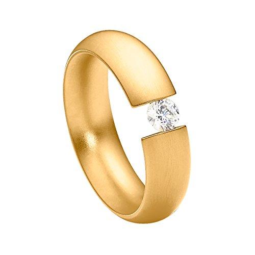 Heideman Ring Damen Intensio aus Edelstahl gold farbend matt Damenring für Frauen mit Stein Zirkonia weiss im Brillant Schliff 4mm