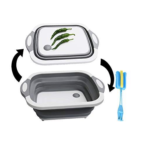 Multifunktions Faltbar Abwasch-Schüssel Schneidebrett Tragbar Camping-Schüssel Faltschüssel perfekt für den Abwasch, Aktivitäten im Freien - Tassenbürste (Grau)