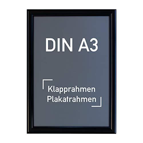 Aluminium Klapprahmen DIN A3, schwarz - Alu Rahmen, Plakatrahmen, Wechselrahmen, 297 x 420 mm