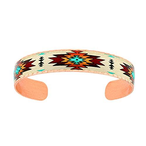 Pulsera de cobre hecha a mano para unisex, diseño de explosión del sol del sudoeste, pulseras nativas americanas delgadas ajustables