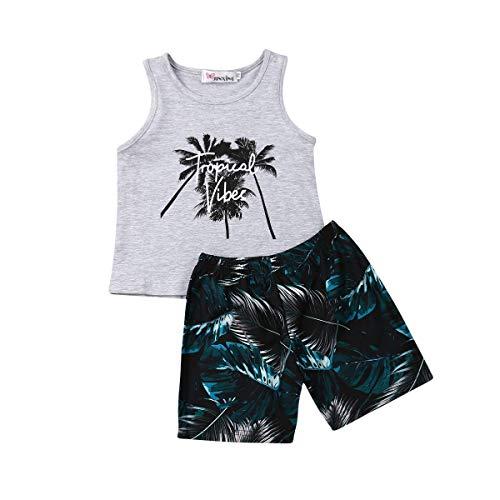Ropa Conjuntos para Niño 2 Piezas Estilo Tropical 1 Camiseta sin Mangas con Dibujo + 1 Pantalones Cortos Estampado Palmas Verano Playa y Regalo para Hermanos