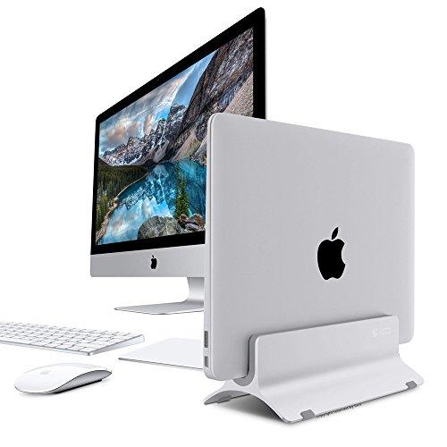Vertical Laptop Stand, LOCA Aluminium Desktop Stand for Apple MacBook, notebooks (Silver) Photo #2
