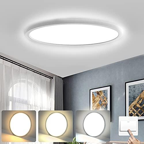 Wayrank Plafoniera LED Ultrasottile, 2.5cm Lampada da Soffitto Moderno con 3 Colori, 24W Tonda Pannello LED Luce per Camera Soggiorno Bagno, 3000k-6000k, Ø30cm