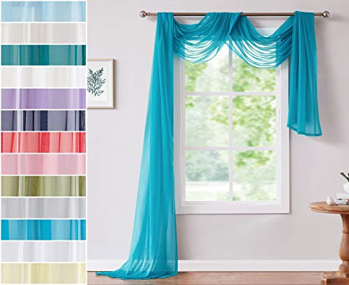 Red Co. Semi-Sheer Turquoise Window Scarf, 56 x 288 Inches, Decorative Curtain Accent Window Valance