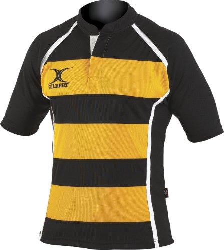 Gilbert Xact Hoops Rugby-Trikot, Herren Damen, Schwarz/Bernstein, X-Small