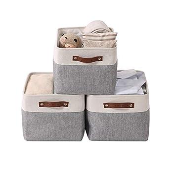 DECOMOMO Foldable Storage Bin | Collapsible Sturdy Fabric Storage Basket Cube W/Handles for Organizing Shelf Nursery Toy Closet  Grey and White Large - 3 Pack