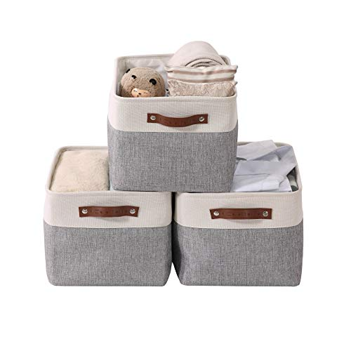 DECOMOMO Foldable Storage Bin Collapsible Sturdy Cationic Fabric Storage Basket Cube W/Handles for Organizing Shelf Nursery Home Closet (Grey and White, Large - 15 x 11 x 9.5' - 3 Pack)