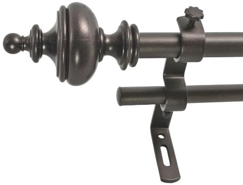 """Decopolitan Urn 5/8"""" Double Curtain Rod Set, 26 to 48 Inches, Toasted Copper"""