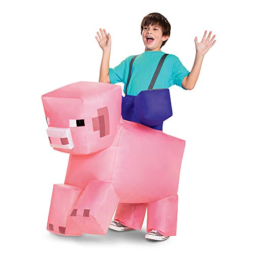 Pig Ride On Minecraft Inflatable Costume, Kids Inflating Costume Jumpsuit with Fan,...