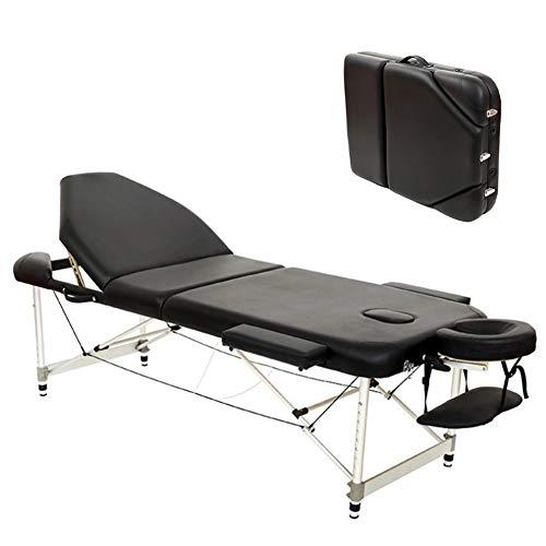 YZT QUEEN massagestoel, zwart, lichtgewicht 3-delig aluminium, in hoogte verstelbare draagbare beauty-klaptafel, geschikt voor schoonheid, tatoeage, behandeling, massage enz.