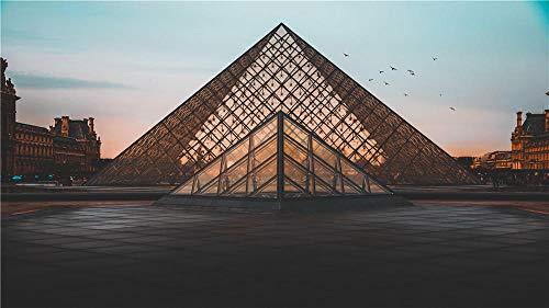 OKOUNOKO 300 Piezas Puzzles 3D, Pirámide del Louvre, De Madera Montaje Personalizado Rompecabezas Divertido, 38X26Cm