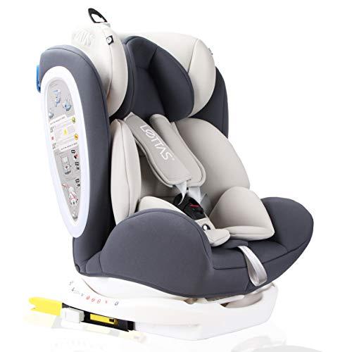 LETTAS Kinder Autositze Sitzschale Baby autositz 0+1/2/3 (0-36 kg) mit Protektoren seitliche Isofix ECE R44/04 (ISOFIX Grau)