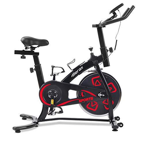 Bicicletas Estáticas de Spinning Ajustables Bicicleta Fitness Pantalla LCD, Bicicleta de Ejercicios Aeróbicos Sport para Interiores Entrenamiento Ejercicios Cardiovasculares [EU Stock] (Rojo)