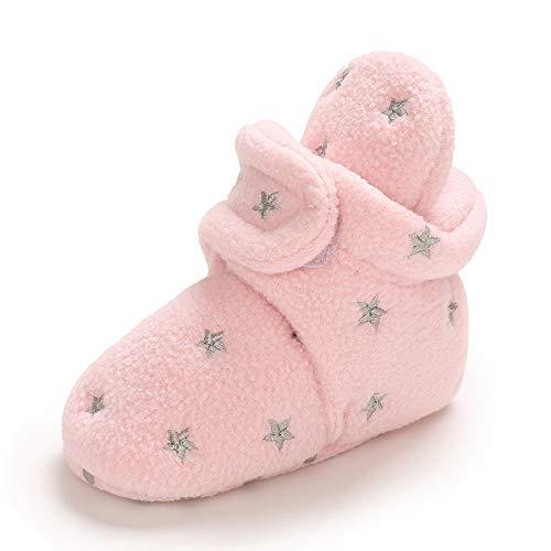MASOCIO Botas Bebe Niño Niña Invierno Botines Botitas Bebé Recién Nacido Zapatillas Casa Zapatos Primeros Pasos Calentar Rosa Talla 19 6-12 Meses