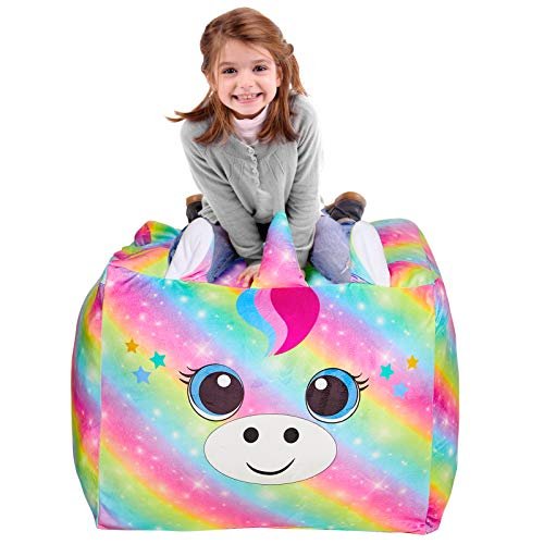 MHJY Stuffed Animals Storage Bean Bag Large Unicorn Bean Bag Chairs Cover for Kids Soft Velvet Plush Toy Storage Organizer Stuffed Toy Storage Bag(No Stuffing)