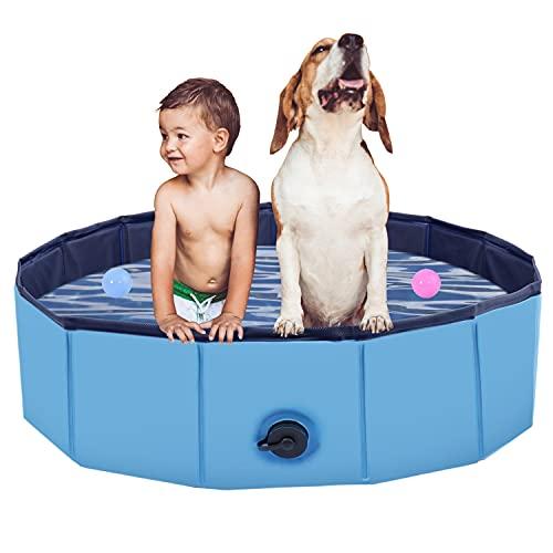 Faltbarer Hundepool, Haustier Faltbarer Swimmingpool, Planschbecken Hundebadewanne Swimmingpool für Hunde, Wasserteich Pool Kinderbecken zum Haustiere Schwimmen und Baden im Freien, Blau(100 x 30cm)