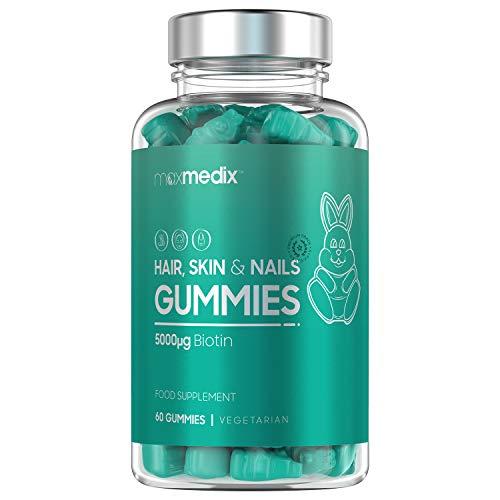 GUMMIES pour CHEVEUX, PEAU et ONGLES | Vitamines pour la croissance et la pousse des Cheveux | Biotine 5000 mg - Vitamines A, C, D, E, B6 et B12 | Saveur délicieuse à la CERISE | 60 Bonbons