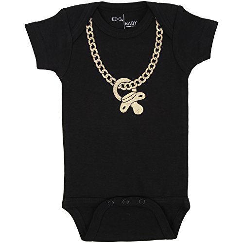 GOLD CHAINZ Bodysuit in Black by ED G Baby. (12-18 M)