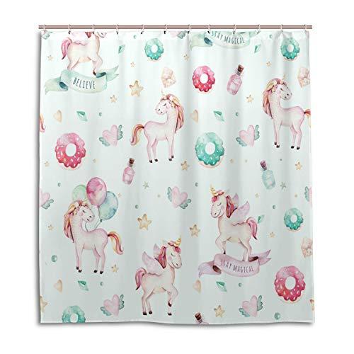BIGJOKE Duschvorhang, Einhorn-Donut-Muster, schimmelresistent, wasserdicht, Polyester, 12 Haken, 167,6 x 182,9 cm, Heimdekoration