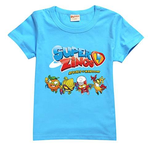 Superzings Maglietta all-Match Airy T Shirt Tempo Libero Tshirt Tshirt Semplice Design T-Shirt for Ragazzi e Ragazze Ragazzi (Color : Blue0101, Size : 100)