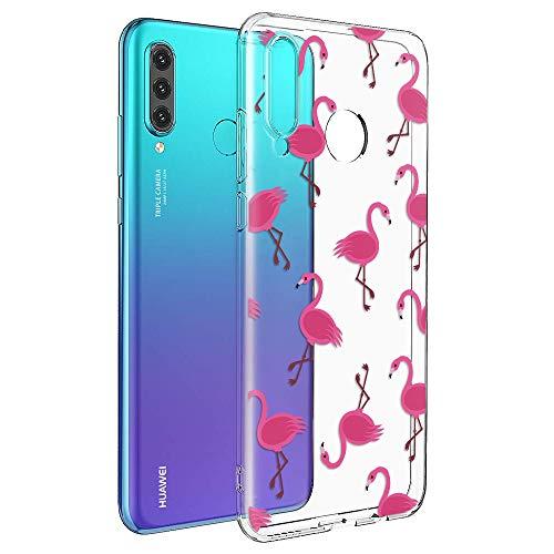 ZhuoFan Cover Huawei P30 Lite, Custodia Cover Silicone Trasparente con Disegni Ultra Slim TPU Morbido Antiurto 3D Cartoon Bumper Case Protettiva per Huawei P30 Lite (Fenicotteri)