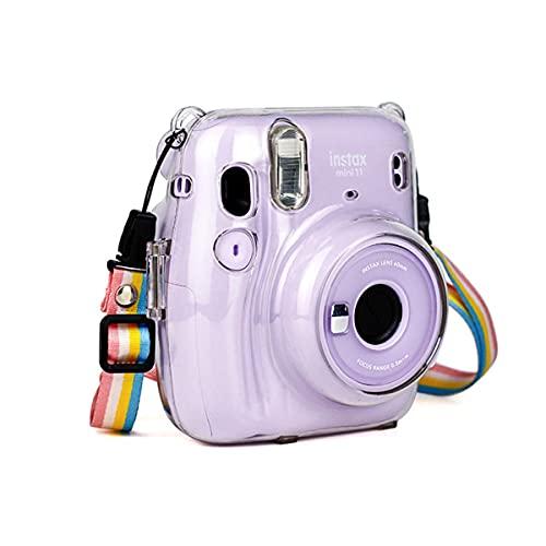 JXE - Custodia protettiva trasparente per fotocamera con tracolla regolabile arcobaleno, compatibile con Fujifilm Instax Mini 11