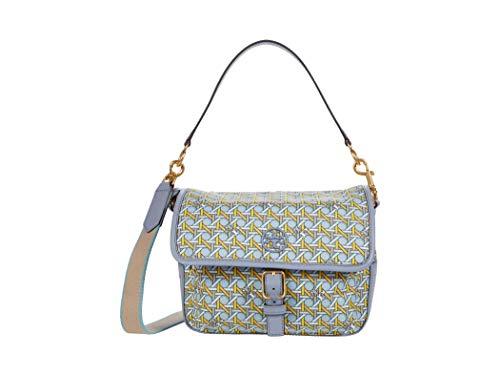 Tory Burch Women's Northern Blue Basketweave Piper Crossbody Handbag