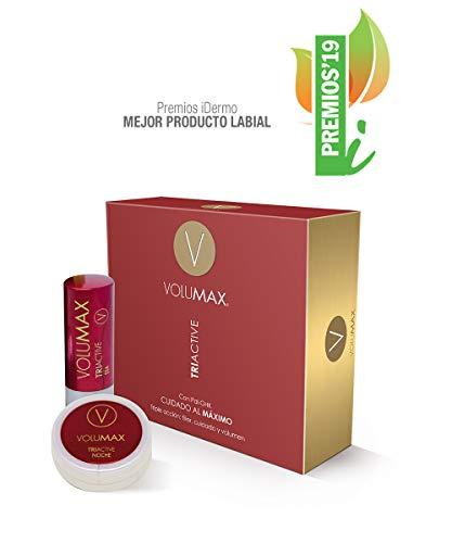 VOLUMAX TRIACTIVE - Tratamiento Antiedad Voluminizador Labios | Balsamo Labial Nocturno + Stick Diurno | Antiarrugas, Regenerador e Hidratante | + Volumen en 28 Días | Vitamina E + Retinol | SPF15