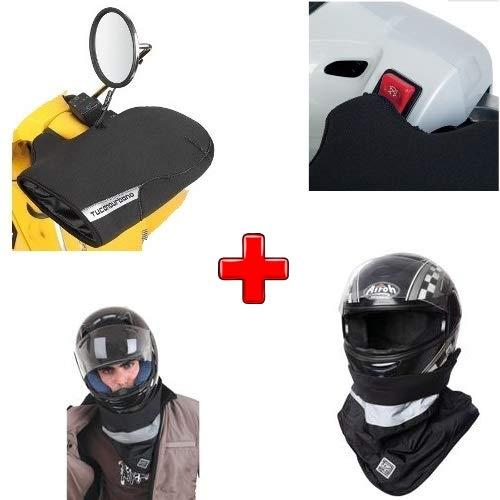 Compatible con Ducati Monster 1000 S4R 2003-2007 Kit Impermeable Tucano Urbano Funda Mano Guantes R362-X + Funda Cuello Impermeable 717I para Casco + Funda Mano Neopreno