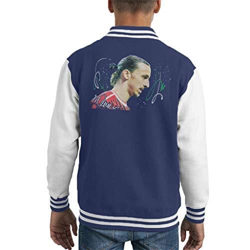 VINTRO Zlatan Ibrahimovic Kinder Varsity Jacket Original Portrait von Sidney Maurer Professionell bedruckt Gr. S, Oxford Navy Arctic White
