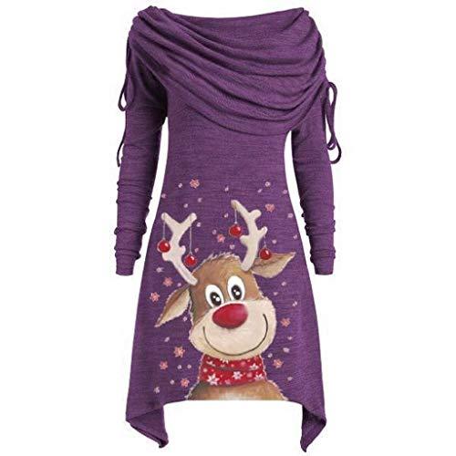 iHENGH Damen Plus Size Womens Fashion Solid Geraffte Lange Foldover Kragen Tunika Top Bluse Tops(Lila, S)